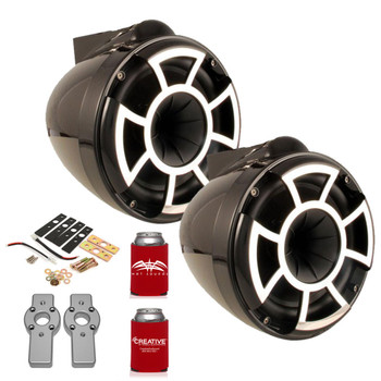 "Wet Sounds REV8B-X REV Series 8"" Black Wake Tower Speakers with ADPMCBracket-11 MasterCraft Adapters"