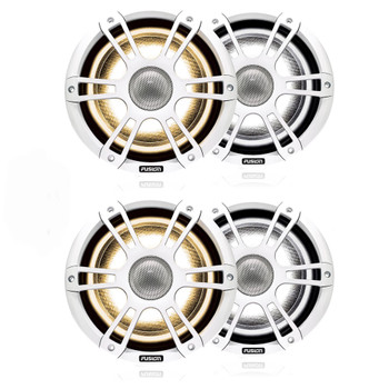 """Fusion 2-Pairs SG-FL882SPW 8.8"""" 330 Watt Coaxial Sports White Marine Speaker with CRGBW"""