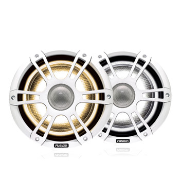 """Fusion 2 Pairs SG-FL652SPW 6.5"""" 230 Watt Coaxial Sports White Marine Speaker with CRGBW"""