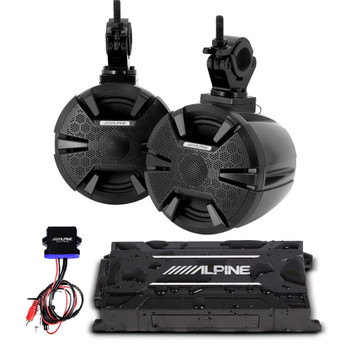 Alpine PSS-SX01 Weather Resistant Side-By-Side Roll Bar Speaker System With Amp And Bluetooth Receiver