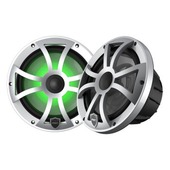 Wet Sounds REVO 8-XSS Silver Open XS Grille 8 Inch Marine LED Coaxial Speakers (pair) - Used Acceptable