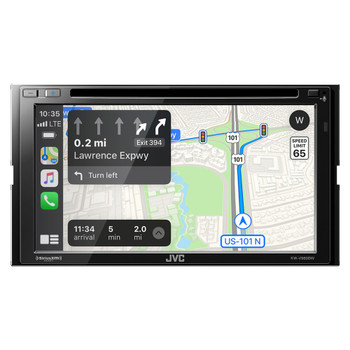 """JVC Bundle - JVC KW-V960BW 6.8"""" Wireless Apple CarPlay/Android Auto MultiMedia Receiver with Dash Kit, Wiring Harness and Antenna Adapter, Compatible with Jeep Wrangler, 97-02"""