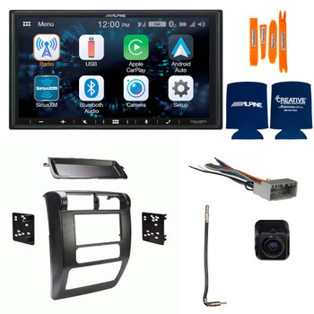 Alpine Bundle - Alpine ILX-W650 Multimedia Receiver with Dash Kit, Wiring Harness and Antenna Adaptor and B/U Camera, Compatible with Wrangler, 03-06