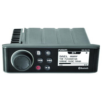 """Fusion MS-RA70 Marine AM/FM/BT Stereo with 2 Pairs Wet Sounds RECON6-XWW-RGB High Output 6.5"""" RGB Lighting Marine Coaxial Speakers, White Grill"""