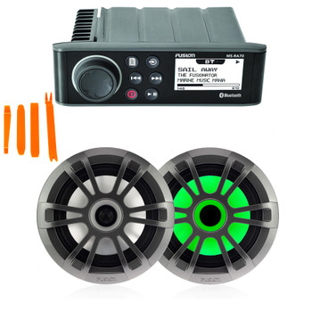 "Fusion MS-RA70 Marine AM/FM/BT Stereo with 1 Pair Fusion EL-FL651SPG EL Series 6.5"" Shallow Mount RGB LED, Sports Grey Grille"