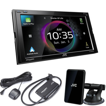 JVC KW-M865BW Digital AV Receiver with Bluetooth, Wireless Android Auto & Wireless Apple CarPlay, Includes KS-GC10Q Qi Wireless Charging and SXV300v1 Satellite Tuner
