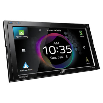 JVC KW-M865BW Digital AV Receiver with Bluetooth, Wireless Android Auto & Wireless Apple CarPlay, Includes KS-GC10Q Qi Wireless Charging Magnetic Mount Cradle