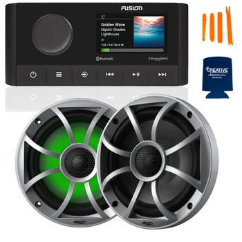 "Fusion MS-RA210 Marine AM/FM/BT/NEMA2000/SiriusXM Ready Stereo with 1 Pair Wet Sounds RECON6-S-RGB High Output 6.5"" RGB Lighting Marine Coaxial Speakers, Silver Grill"