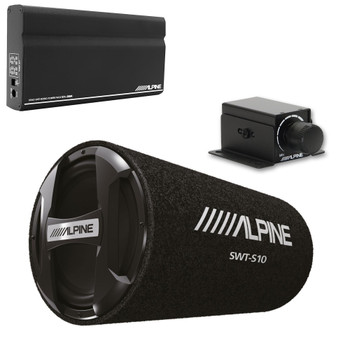 "Alpine KTA-200M Mono Power Pack Amp with Alpine SWT-S10 10"" Loaded Tube Subwoofer and Bass Knob"