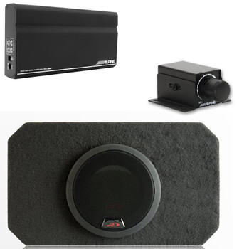 "Alpine KTA-200M Mono Power Pack Amp with Alpine SBR-S8-4 8"" Loaded Subwoofer Enclosure and Bass Knob"