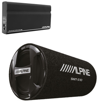 "Alpine KTA-200M Mono Power Pack Amp with Alpine SWT-S10 10"" Loaded Tube Subwoofer"