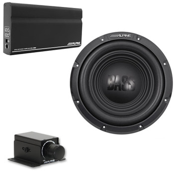 "Alpine KTA-200M Mono Power Pack Amp with Alpine W10S4 10"" Subwoofer and Bass Knob"