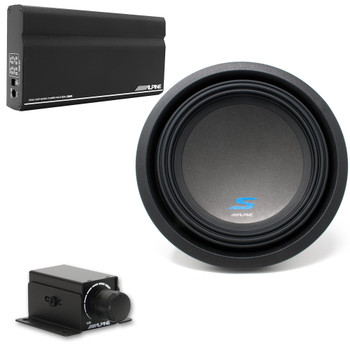 "Alpine KTA-200M Mono Power Pack Amp with Alpine S-W10D2 10"" Subwoofer and Bass Knob"