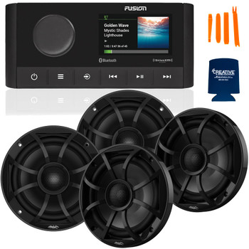 """Fusion MS-RA210 Marine AM/FM/BT/NEMA2000/SiriusXM Ready Stereo with 2 Pair Wet Sounds RECON6-BG High Output 6.5"""" Marine Coaxial Speakers, Black Grill"""