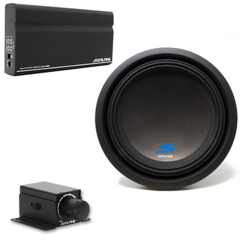 "Alpine KTA-200M Mono Power Pack Amp with Alpine S-W12D2 12"" Subwoofer and Bass Knob"