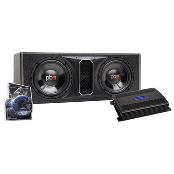 "PowerBass Party Pack - Dual 10"" Subwoofers in vented enclosure with ASA3-400.2 Amplifier and Wiring Kit"