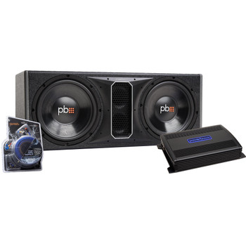 "PowerBass Party Pack - Dual 12"" Subwoofers in vented enclosure with ASA3-400.2 Amplifier and Wiring Kit"
