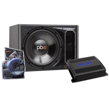 "PowerBass Party Pack - Single 12"" Subwoofer in vented enclosure with ASA3-300.2 Amplifier and Wiring Kit"