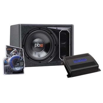 """PowerBass Party Pack - Single 10"""" Subwoofer in vented enclosure with ASA3-300.2 Amplifier and Wiring Kit"""