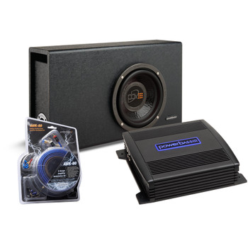 """PowerBass Party Pack - Single 8"""" Subwoofer in truck enclosure with ASA3-200.2 Amplifier and Wiring Kit"""