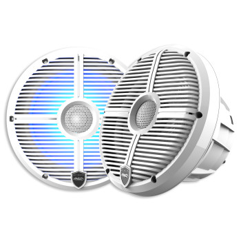 Wet Sounds REVO 8-XWW White Closed XW Grille 8 Marine LED Inch Coaxial Speakers (pair) - Used Very Good