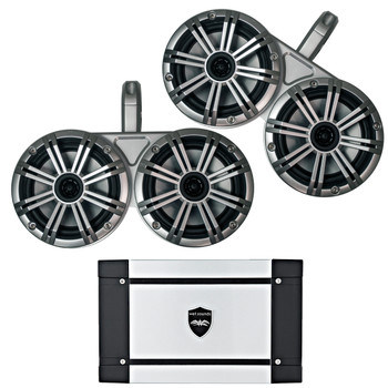 "Kicker Marine Dual Wake Tower System w/ 4 6.5"" Speakers, Wet Sounds HT-4 400 Watt Marine Amp"