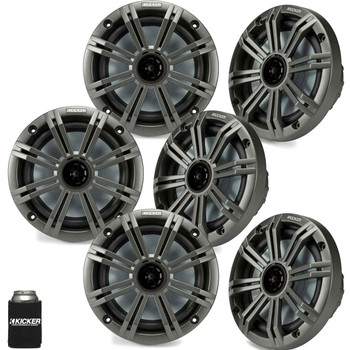 """Kicker 6.5"""" Charcoal Marine Speakers (QTY 6) 3 pairs of OEM replacement speakers"""