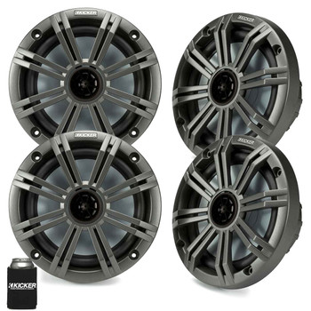 "Kicker 6.5"" Charcoal Marine Speakers (QTY 4) 2 pairs of OEM replacement speakers"