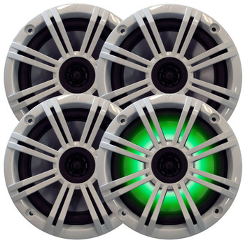 """Kicker - Four OEM Replacement White LED 6"""" 390 Watt 2-Way Marine/Boat Car Audio Coaxial Speakers KM6LC"""