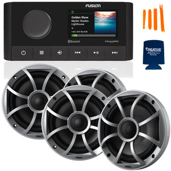 """Fusion MS-RA210 Marine AM/FM/BT/NEMA2000/SiriusXM Ready Stereo with 2 Pair Wet Sounds RECON6-S High Output 6.5"""" Marine Coaxial Speakers, Silver Grill"""