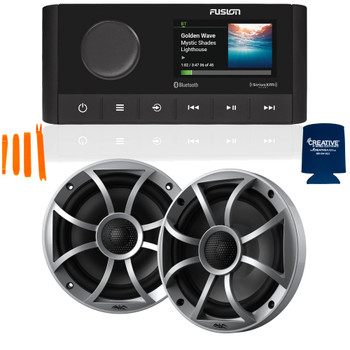 """Fusion MS-RA210 Marine AM/FM/BT/NEMA2000/SiriusXM Ready Stereo with 1 Pair Wet Sounds RECON6-S High Output 6.5"""" Marine Coaxial Speakers, Silver Grill"""