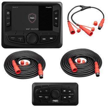 Wet Sounds WS-MC-20 2-Zone Media Center with (2) WS-G2-TR Wired Transom Remote for MC-20 (No Display)