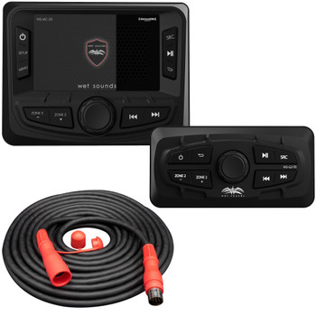 Wet Sounds WS-MC-20 2-Zone Media Center with WS-G2-TR Wired Transom Remote for MC-20 (No Display)