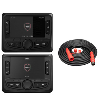 Wet Sounds WS-MC-20 2-Zone Media Center with WS-G2-CTR Wired Transom Remote w/ Full Color Display for WS-MC-20