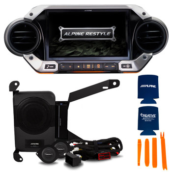 Alpine X409-WRA-JL with PSS-23WRA Powered Audio System Upgrade for 18-Up Jeep Wrangler Unlimited JL and Gladiator