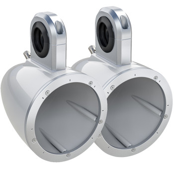 Kicker 12KMTESW Pair of Wake Tower/Roll Bar Speaker Enclosures, White