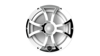 Wet Sounds REVO 8-XSW-SS White XS / Stainless Overlay Grill 8 Inch Marine LED Coaxial Speakers (pair)