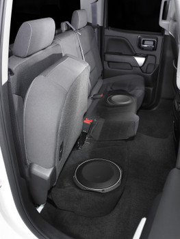 JL Audio SB-GM-SLVD/10TW1/BK:Stealthbox® for 2014-2018 Chevrolet Silverado / GMC Sierra Double Cab Trucks with Jet Black or Dark Ash interior