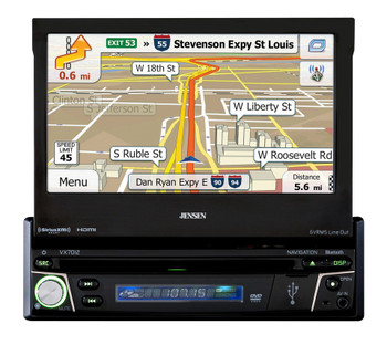 "Jensen VX7012 Refurbished 7"" Flip Out Navigation Bluetooth & Ext Mic / USB"