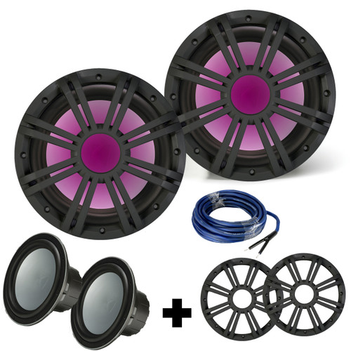 Two Kicker 10 Inch Marine Subwoofers with RGB LED Charcoal Grilles