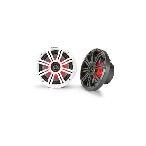 Kicker KM65 6.5-Inch (165mm) Marine Coaxial Speakers with 3/4-Inch Tweeters, LED, 4-Ohm, Charcoal and White Grilles