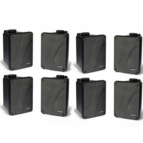 Kicker 11KB6000B Black Outdoor Speaker Bundle - 8 Speakers