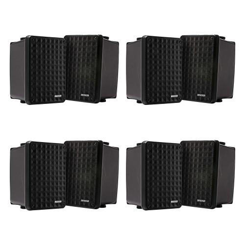 Kicker 11KB6000B Black Outdoor Speaker Bundle - 8 Speakers