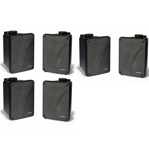 Kicker 11KB6000B Black Outdoor Speaker Bundle - 6 Speakers