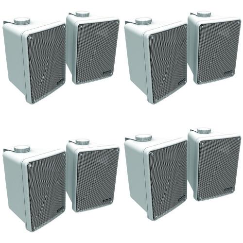 Kicker 11KB6000W White Outdoor Speaker Bundle - 8 Speakers