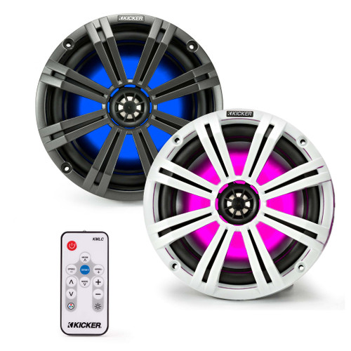 Kicker 8 Inch KM-Series Marine Speaker Bundle 41KM84LCW with 41KMLC LED Remote