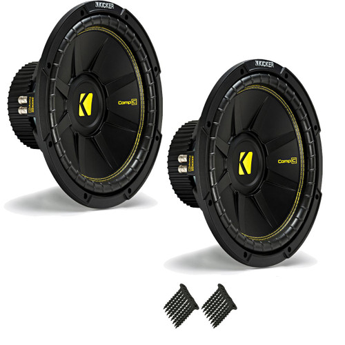 """Kicker CWCD124 CompC 12"""" Subwoofers Bundle Dual 4-Ohm Voice Coil"""