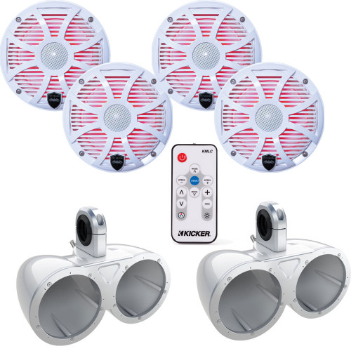 """Two Pairs of Wet Sounds REVO6-SWW White 6.5"""" LED Speakers in KMTED White Enclosures with KMLC LED Controller"""