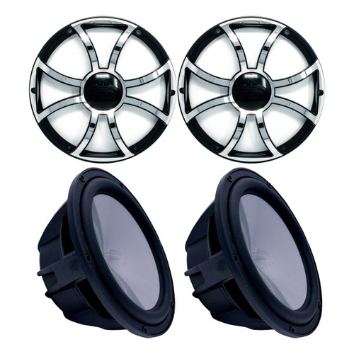"""Two Wet Sounds Revo 10"""" Subwoofers & Grills - Black Subwoofers & Black Grills With Stainless Steel Inserts - 2 Ohm"""