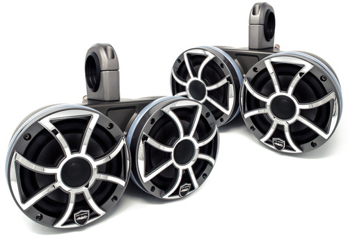 """Two Pairs of Wet Sounds REVO6-XSG-SS Gunmetal 6.5"""" LED Speakers in KMTED Black Enclosures with RGB LED Rings"""